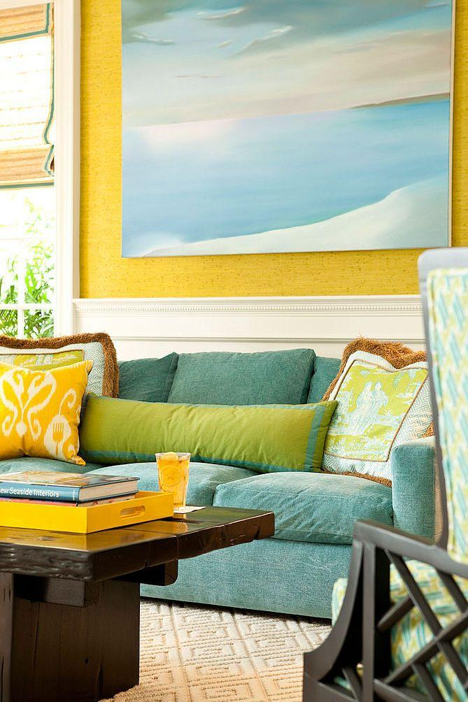 Teal and yellow-themed living space.