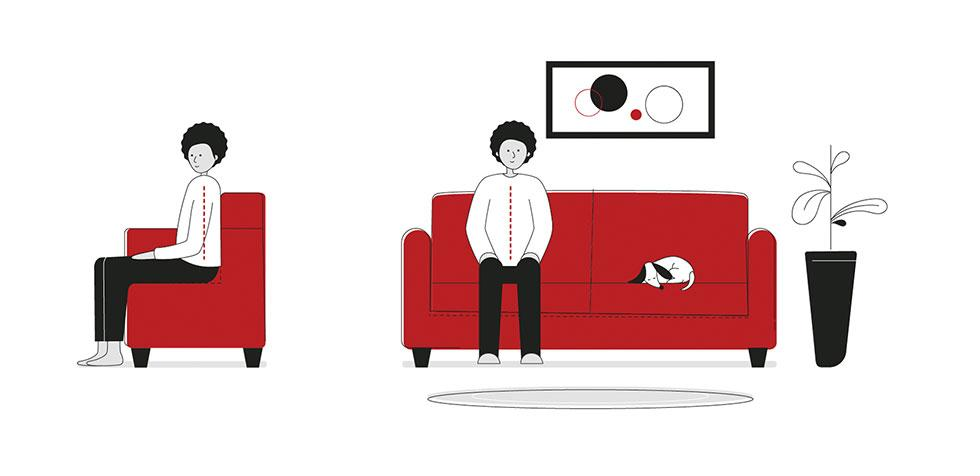 Side and front illustrations of a man with good posture sitting up straight on the sofa with feet flat on the floor to avoid back pain.