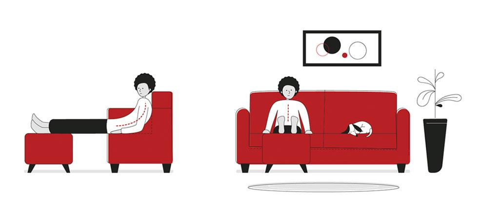 Side and front illustrations of a man with bad posture slouching on the sofa with legs resting on a stool