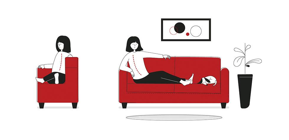 Side and front illustrations of a woman with her legs up on the sofa to the side of her body.