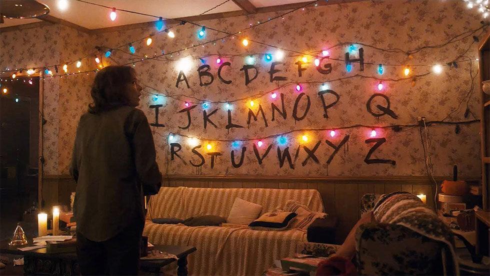 Joyce Byers in her living room in Stranger Things