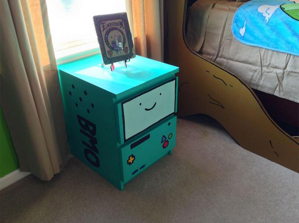 Bedside drawer painted like BMO from adventure time