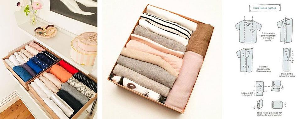 Folding clothes with the fold and stand method.