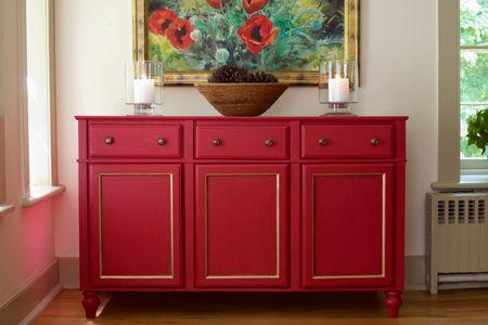 Red cabinet.