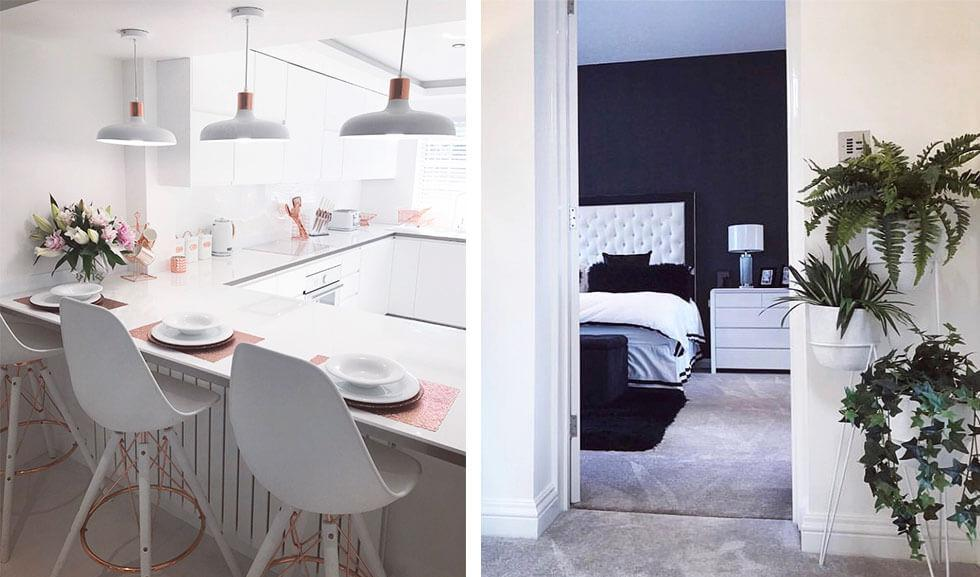 Series of white interiors with rose gold and natural plants.