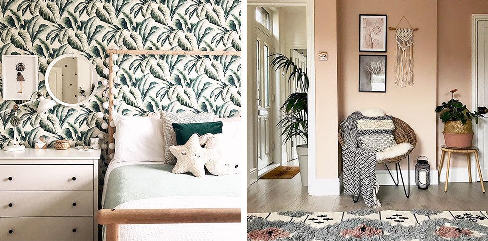 Brightly lit interiors with textured prints and indoor plants.