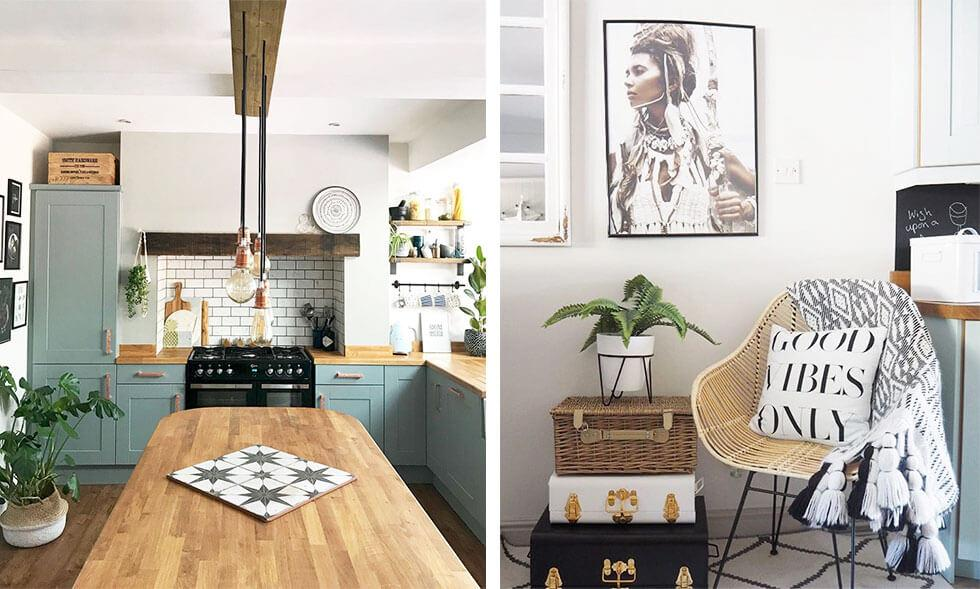 White interiors with natural wooden furniture and woven accessories.