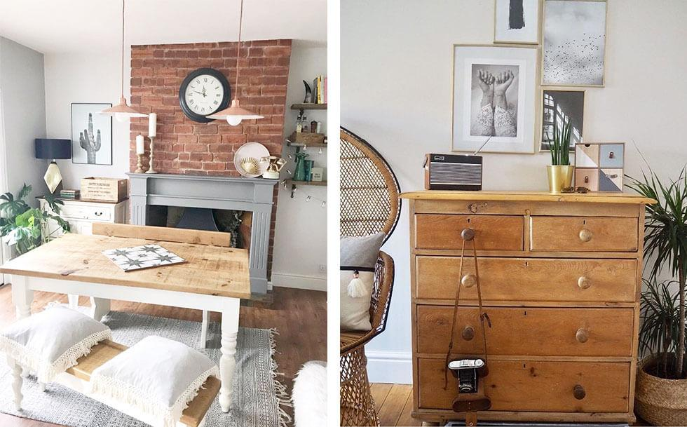 Images of airy interiors with natural brick and wooden furniture.