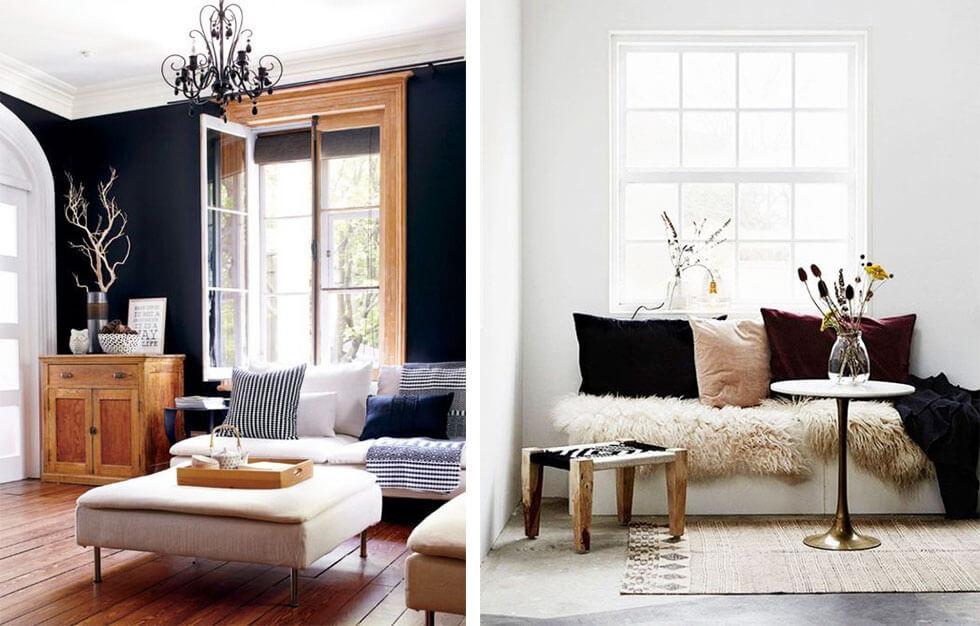 Stylish velvet furniture against different backdrops.
