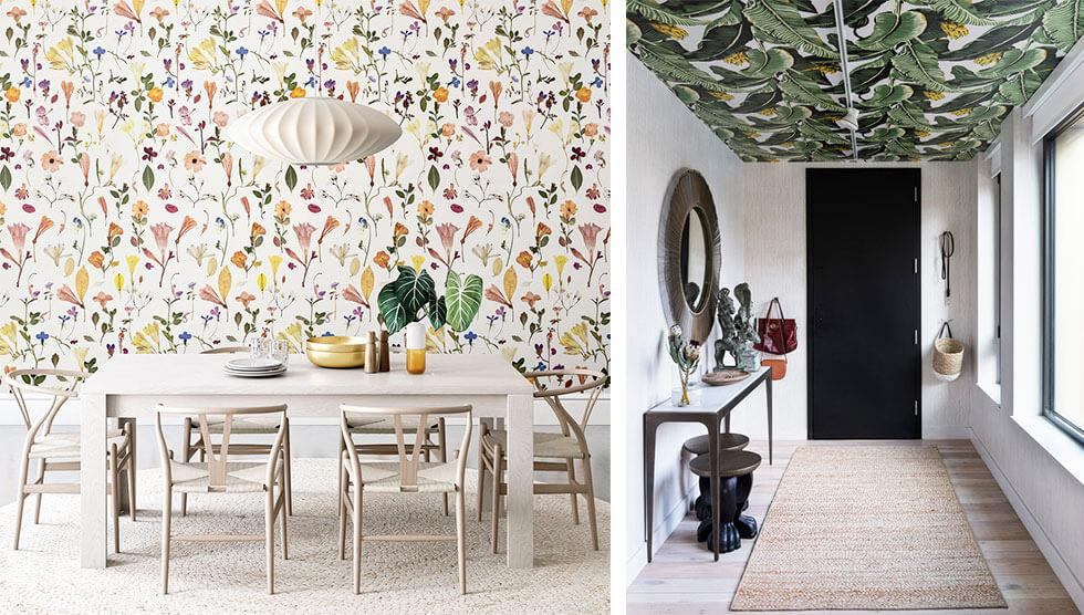 Colourful wallpaper prints on walls and ceilings.