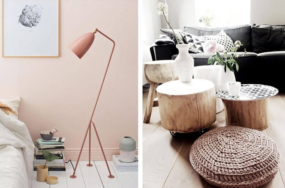 Pastel coloured accessories and natural home furniture.