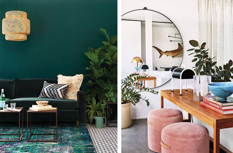Interiors with bold pops of emerald and pink.