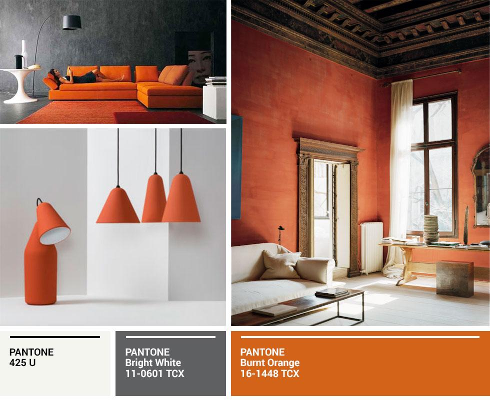 Collage of orange on sofas, lamps and walls.