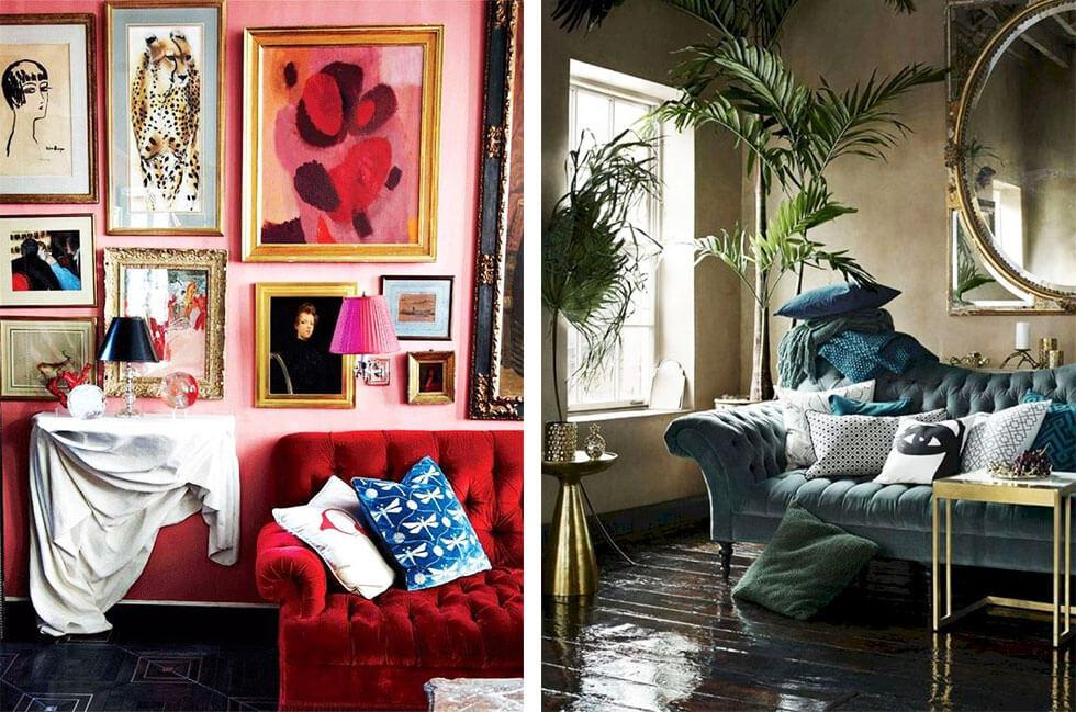 Colourful maximalist living rooms.