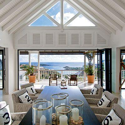 Spacious dining room by the balcony.