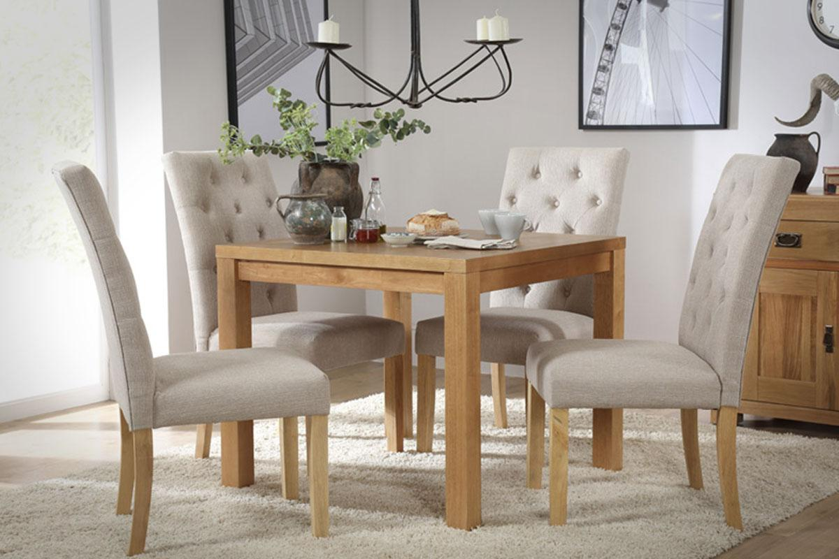 Union Square Oak dining table with 4 Hatfield dining chairs in oatmeal