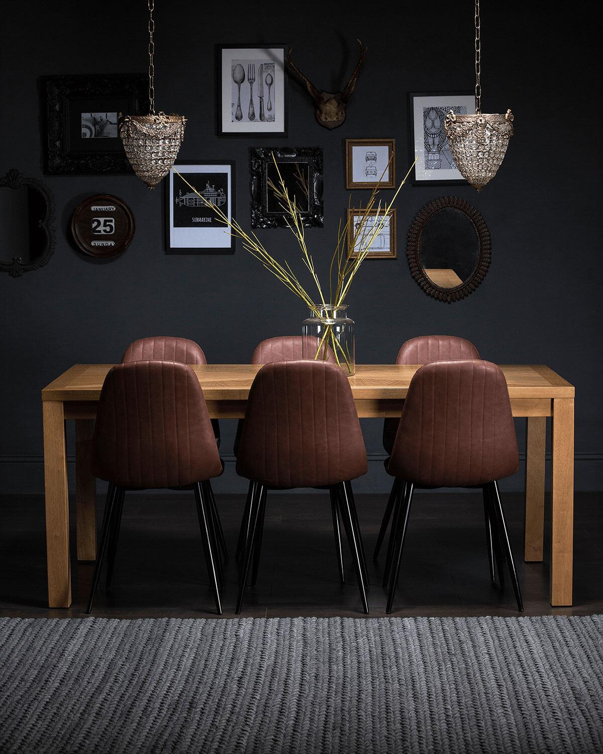 Union Oak dining table with Brooklyn leather dining chairs in brown