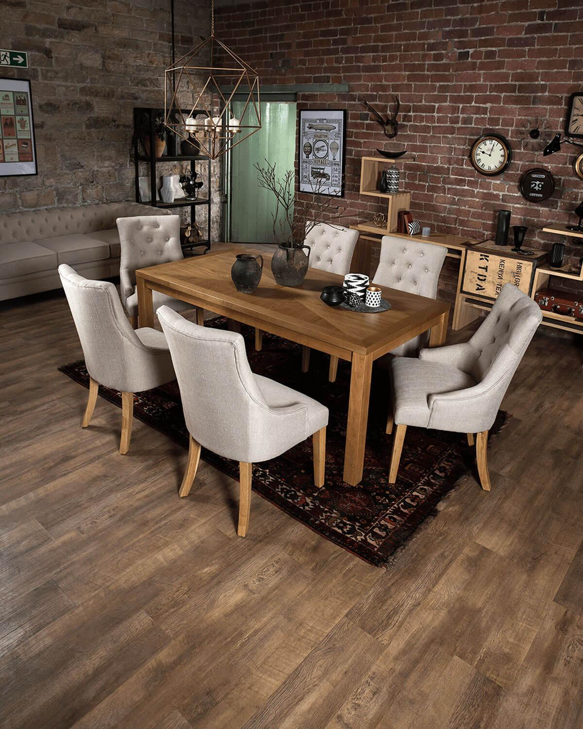 Union Oak dining table with Duke dining chairs in oatmeal with oak legs