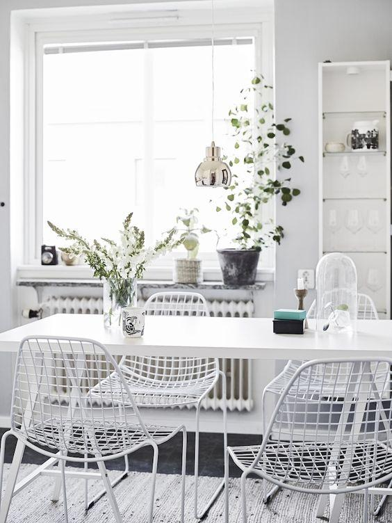 White dining space.
