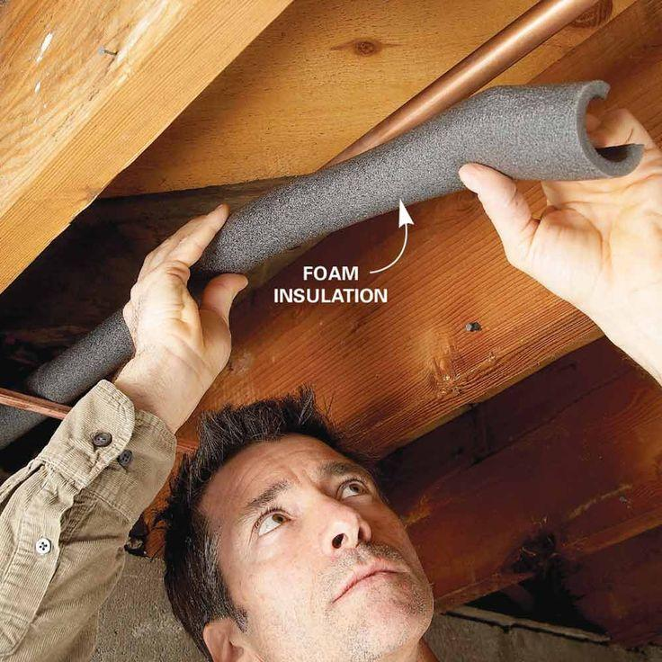 Man attaching foam insulation to wall and pipe.