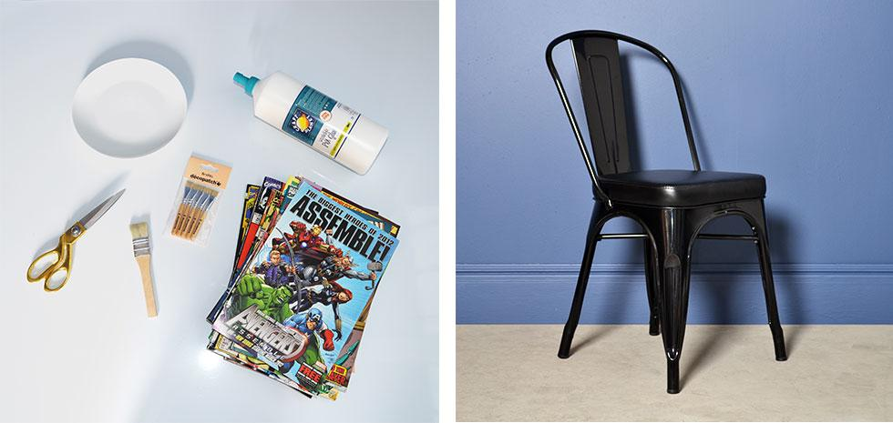 Scissors, comic books, PVA glue, and an old chair is needed to create a DIY Marvel chair