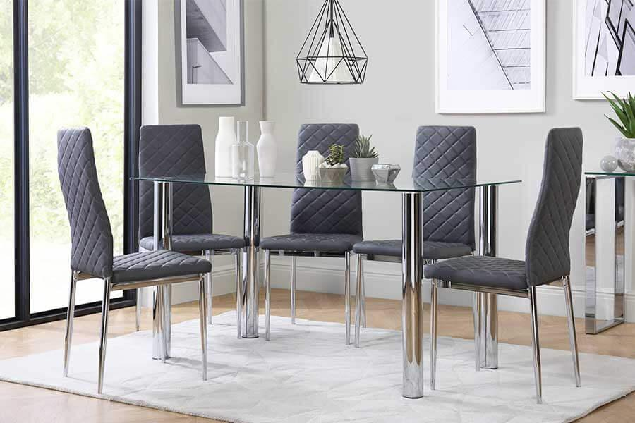 Superb Chrome Dining Tables And Chairs Chrome Dining Set Dailytribune Chair Design For Home Dailytribuneorg