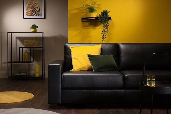 Mission Black Leather Sofa - 2 Seater