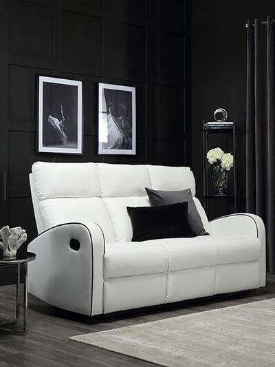 Ashby White Leather Recliner Sofa - 3 Seater