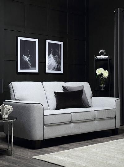 Balham Dove Grey Plush Fabric Sofa 3 Seater