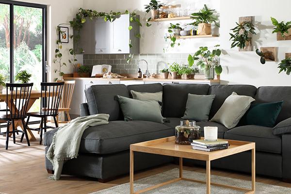 Cassie Charcoal Fabric L Shape Corner Sofa - LHF