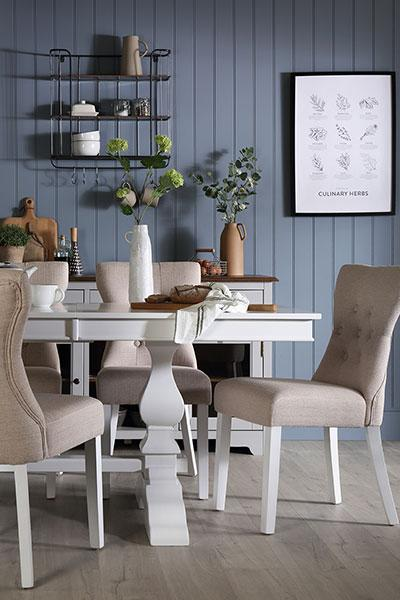 Cavendish White Extending Dining Table - with 4 Bewley Oatmeal Chairs