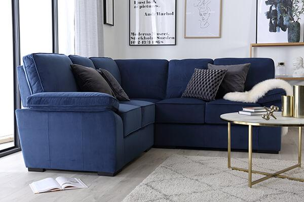 Elliot Royal Blue Velvet Corner Sofa