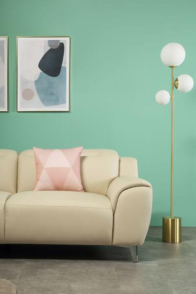 Finley Ivory Leather Sofa 3 Seater