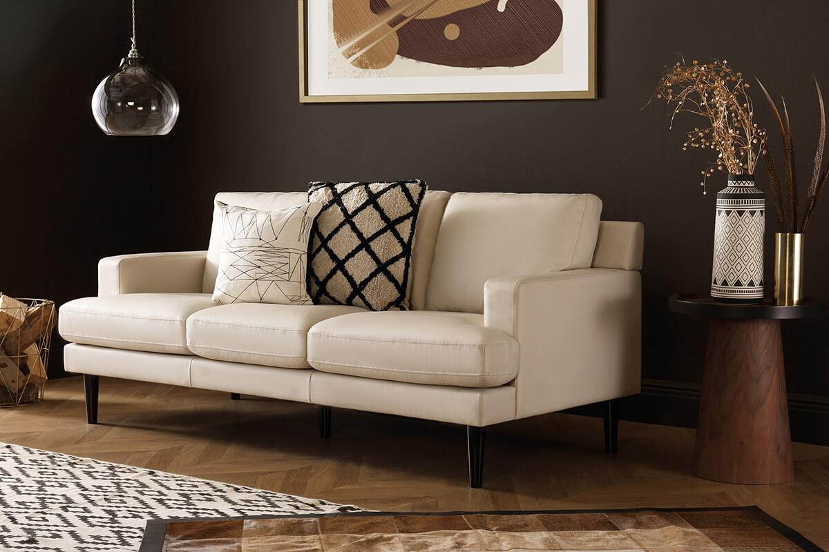 Finsbury Ivory Leather Sofa - 3 Seater