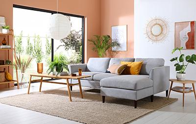 Hayward Dove Grey Plush Fabric L Shape Corner Sofa