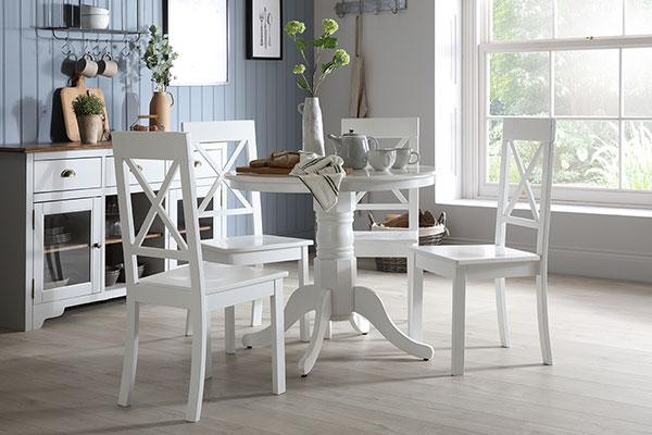Kingston Round White Dining Table - with 4 Kendal Chairs