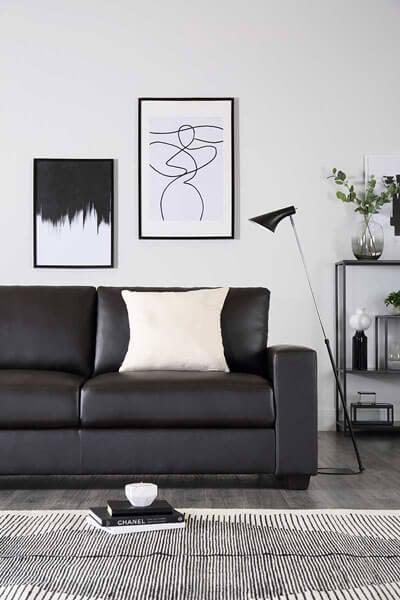 Mission Brown Leather Sofa - 3 Seater