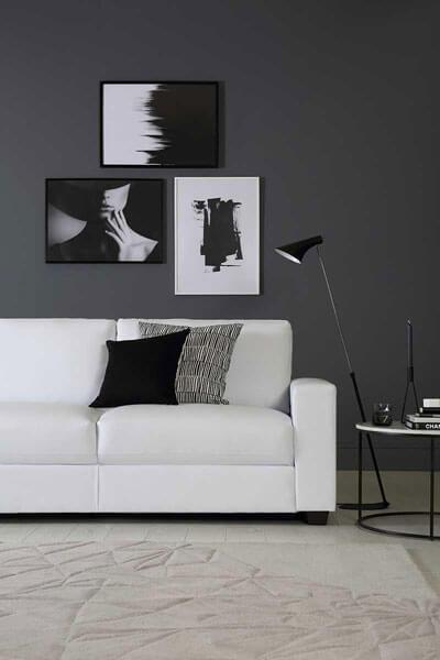 Mission White Leather Sofa - 3 Seater