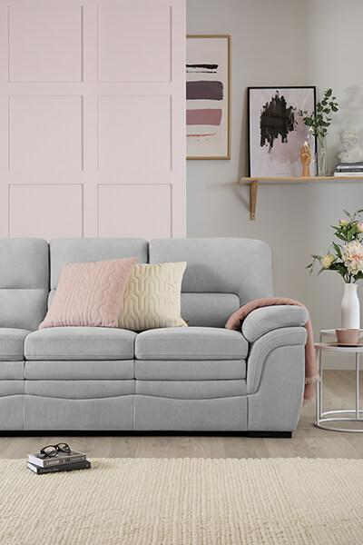 Sutton Dove Grey Plush Fabric Sofa 3 Seater