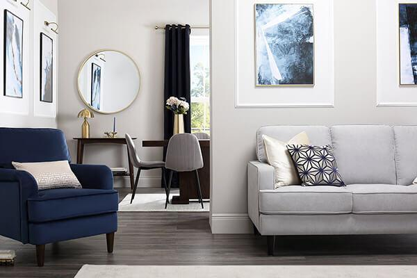 Albion Dove Grey Plush Fabric Sofa 2 Seater
