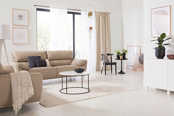 Enzo Taupe Leather Sofa - 3+2 Seater