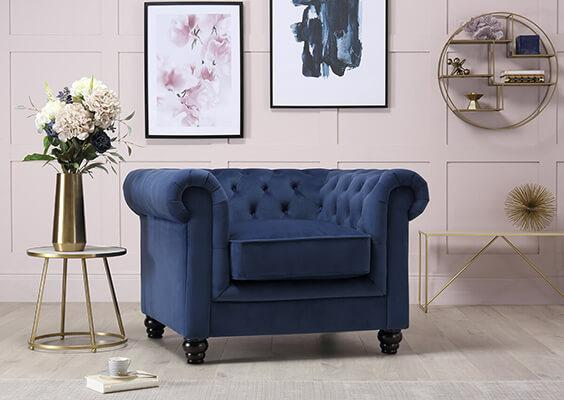 Hampton Blue Velvet Fabric Chesterfield Armchair