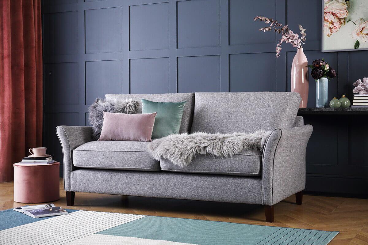 Darwin Grey Fabric Sofa - 3 Seater