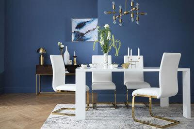 Eden 170cm White High Gloss Dining Table - with 6 Perth White Chairs (Gold Legs)