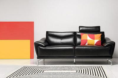 Farringdon Black Leather Sofa - 3 Seater