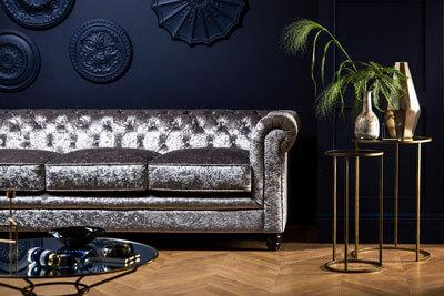 Hampton Silver Crushed Velvet Chesterfield Sofa - 3 Seater
