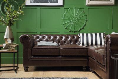 Hampton Chesterfield Antique Chestnut Leather Corner Sofa