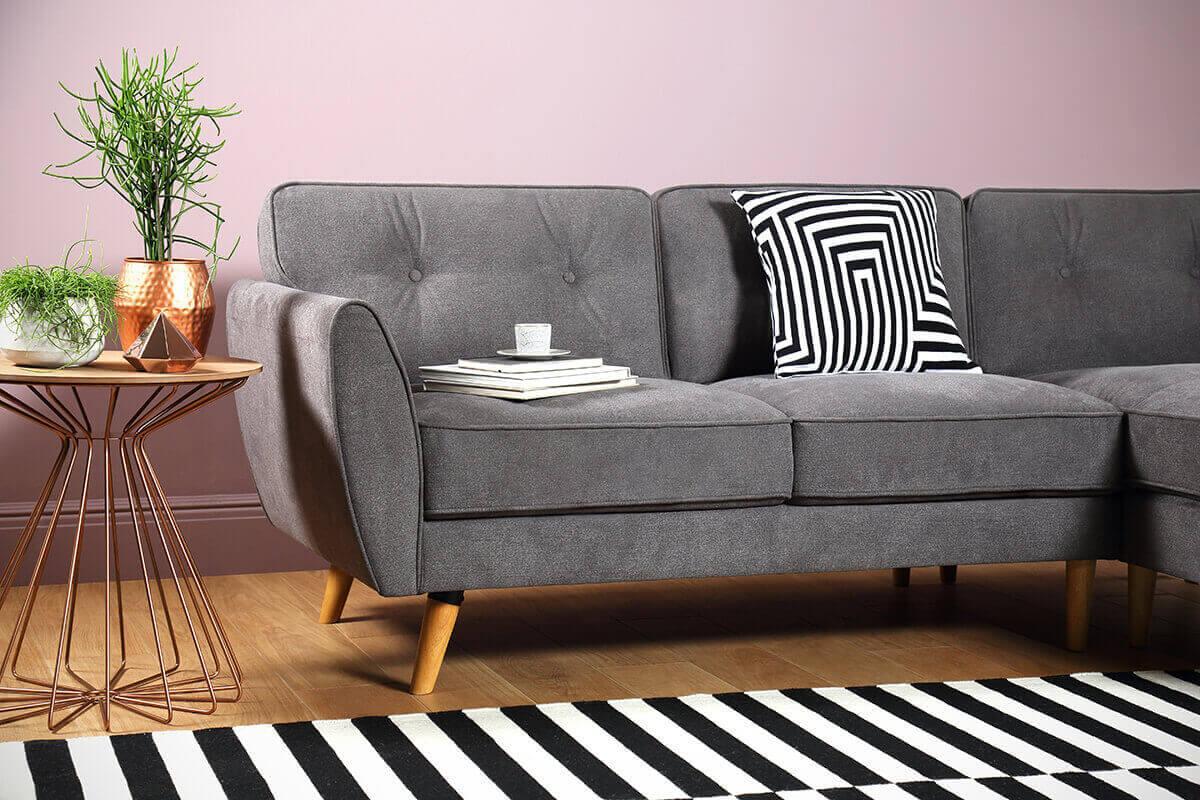 Harlow Slate Grey Fabric L Shape Corner Sofa - RHF