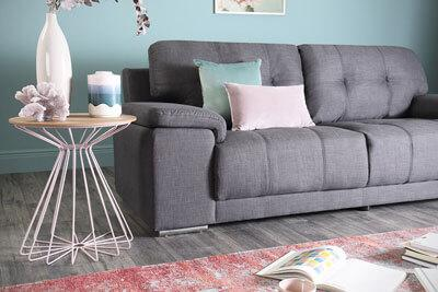 Kansas Slate Grey Fabric Sofa - 3 Seater