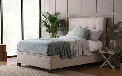 Kaydian Walkworth Linen Fabric Ottoman Storage Bed - Double